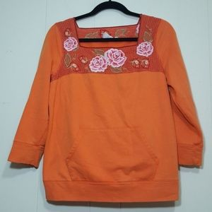 Lilka Anthropologie Embroidered Sweatshirt Orange